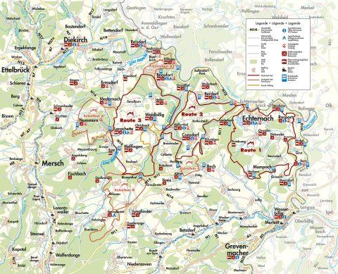 Kaart van de route, bron: www.mullerthal-trail.lu